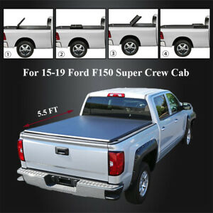For 2015 2018 Ford F150 Super Crew Cab 5 5ft Truck Bed Tonneau Cover 4 Fold