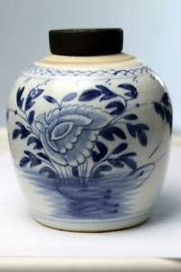 Antique Chinese Blue White Ginger Jar