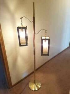 Vtg Mid Century Modern Floor Lamp By Clover Co Brass And Wood