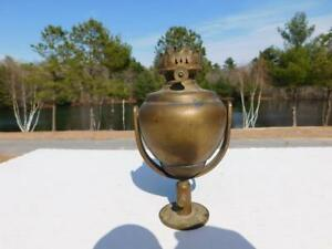 Antique Nautical Ship Gimbal Oil Lamp Burner P A Hornet Maritime Light Brass
