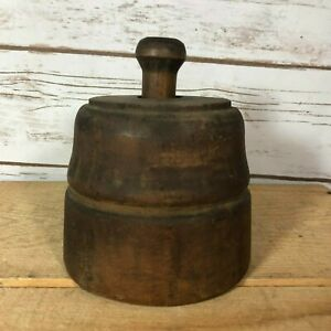Vintage Butter Mold Wood Press Primitive Hand Carved 5 Diameter Primitive Decor