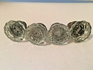 Antique Set Of 4 12 Point Glass Door Knobs With Brass Base