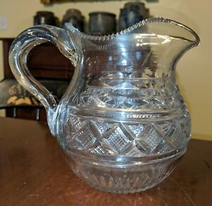 Antique American Cut Glass Pitcher 19th C Possibly Pittsburgh Applied Handle