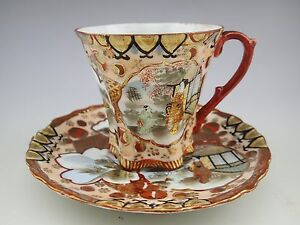 Antique Japan Red Hand Painted Geisha Tea Cup And Saucer