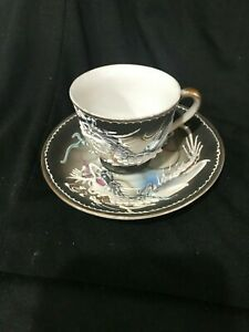 Tea Cup Saucer Victoria Hand Painted China W Dragon Fly