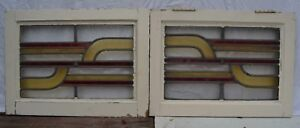 2 Art Deco British Leaded Light Stained Glass Window Panels R848a