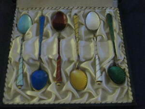 Guilloche Enamel Sterling Spoon Set In Original Box Beautiful