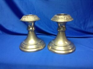 Vintage Pewter Metal Dutch Holland Scene With Windmills And People Candlesticks