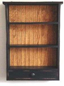 Primitive Country Rustic Handcrafted Shaker Shelves Drawer Wall Counter Cabinet