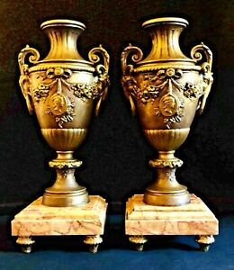 Matched Pair Of Antique French Spelter Marble Figural Garniture Urns