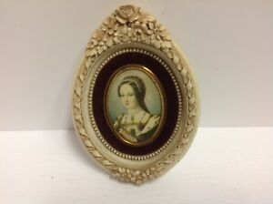 Vintage Toleware Picture With Lady Portrayed