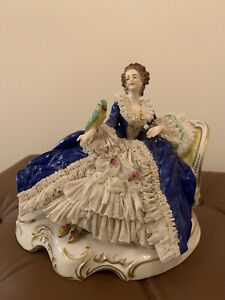 Antique Volkstedt Dresden Lace Porcelain Figurine Seating Lady With A Parrot