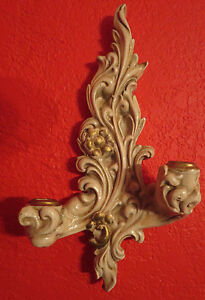 2 Exquisite Vintage French Giltwood Pair Wall Sconces Italy 2 Arm Candle Holder