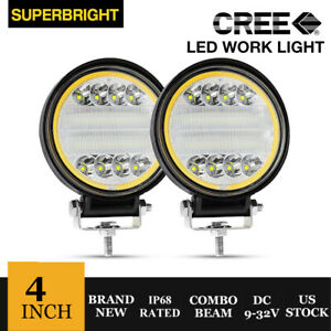 2pcs 4 80w Cree Led Work Lights Pods Combo Off Road Lamp For Atv Jeep Ute Round