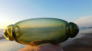 Vintage Genuine Japanese Beachcombed Olive Green Rolling Pin Glass Float