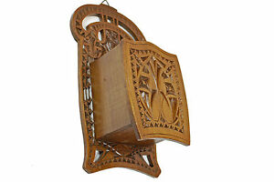 Antique Frisian Chip Carved Wooden Hanging Candle Box Dutch