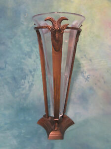 Antique Vintage Art Deco Glass Vase With Brass Ram Head Hoof Metal Stand 10 1 2