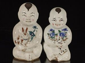 Two Antique Vintage Chinese Multicolored Porcelain Statue Figure Of Brothers