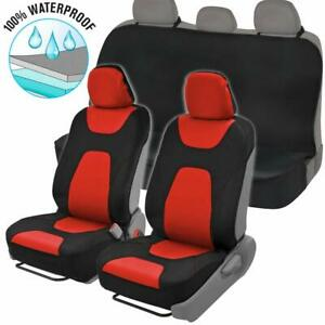Neoprene 5 Pc Seat Cover Set Red black Armrest And Controls Compatible