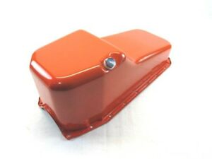 1980 85 Sbc Chevy 305 327 350 Stock Steel Oil Pan Pass Side Dip Orange Bpe 6102r