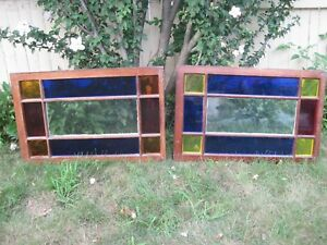 Antique Pair Stained Glass Windows 30 1 2 X 20