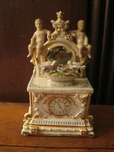 Antique Fairing Porcelain Box Dresser With Two Cherubs Basket With Birds As Is