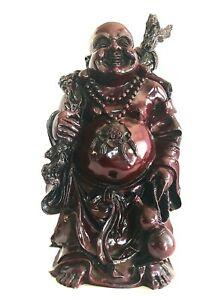 Vintage Travelling Deep Red Laughing Buddha Monumental 18 Quality Resin Statue