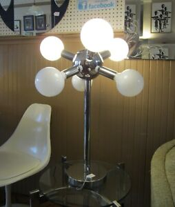 Vintage 1970 Mid Century Modern Chrome 6 Bulb Sputnik Table Lamp