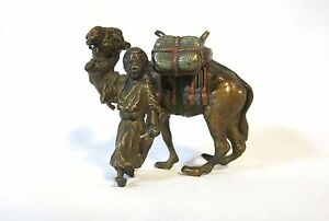 Orientalist Vienna Bronze Cold Painted Man And His Camel 942