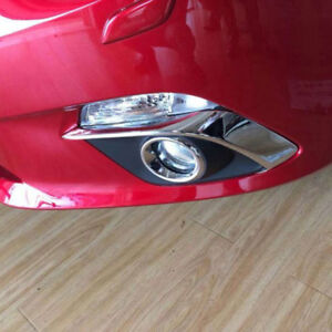 For Mazda 3 Axela 2013 2016 Chrome Front Fog Light Lamp Eyelid Cover Trim Strips