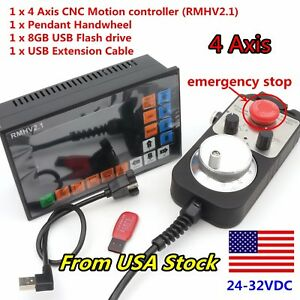 us 4 Axis Stand alone Offline Cnc Motion Controller G code handwheel W E stop