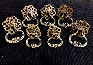 7 Brass Ring Drop Drawer Pull Handles Antique Vintage X5 Big X2 Small