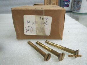 Wood Screws solid Brass Flat Head 14 X 2 1 2 New Lot Of 60 Screws