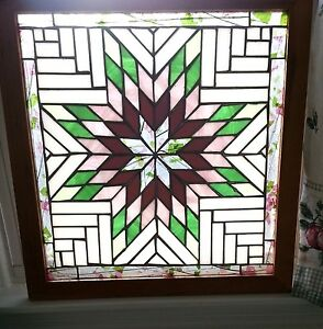 Vintage Stained Glass Window Original Eight Pointed Star Quilt Design 23x22