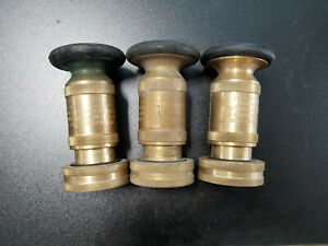 Elkhart L 205 b Brass Fire Nozzle Lot Of 3