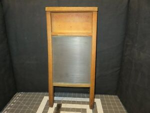 Vintage Wash Board Washboard Victory Ribbed Glass No 508 National Co Wood