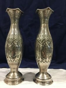 Magnificent Pair Of Antique Islamic Qajar Persian Solid Silver Vases Signed