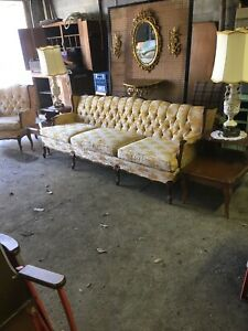 Midcentury Gold Couch Easy Chair Lamps Side Tables Wall Hangings Full Sofa Set