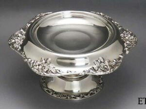 C1895 1910 Art Nouveau International Sterling Silver Compote Footed Bowl