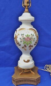 Antique Bohemian Moser Frosted Satin Glass Enamel Flowers Gold Table Lamp 5251