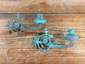 Vintage Asian Wall Sconce Candle Holders Pair