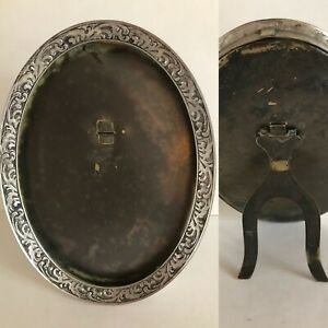 Silver And Brass Standing Oval Victorian Picture Frame Metal Back And Stand