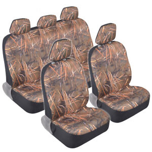 12 Pc Muddy Water Camo Protective Micro Fleece Seat Cover Set For Car Truck Suv
