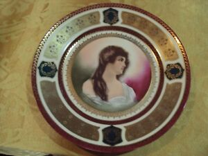 Portrait Plate Schwarzburg Beautifull Lady Signed 9 5 8 Lots Of Gold No Chips