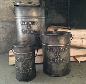 Primitive Country Rustic Country Living Metal Canisters With Lids Set Of 3