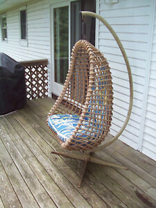 Vintage 1970 S Rattan Hanging Chair W Original Cushions Metal Support Frame