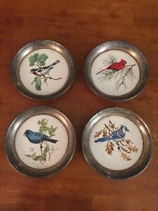 4 Vintage Sheridan Silver Plated Bird Coasters