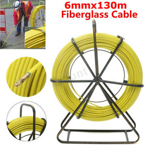 130m 426ft Fish Tape 6mm Fiberglass Wire Cable Running Rod Duct Rodder Puller Us