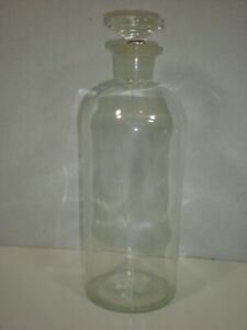 Large Apothecary Bottle With Snug Stopper Vtg