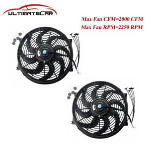 2x14 Inch Universal 12v Electric Radiator Cooling Slim Fans Push